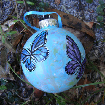 Handpainted glass butterflies ornament No40