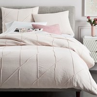 Organic Pleated Grid Duvet Cover + Shams - Pink Blush