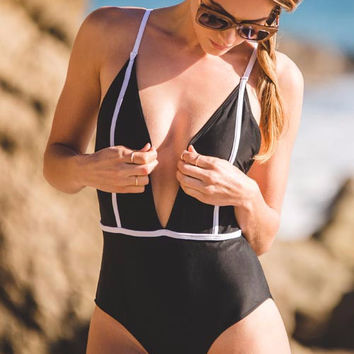 Stolen My Heart Black One Piece Swimsuit