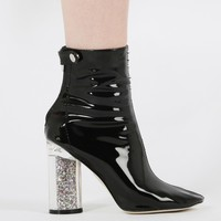 Lia Glitter Heel Ankle Boots in Black Patent