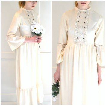 BOHO 70s wedding dress vintage 1970s bell sleeves Claire Haddad DESIGNER collectible BOHEMIAN hippie bridal gown small