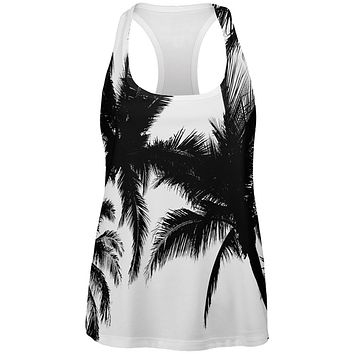 Black And White Palm Tree Silhouette All Over Womens Work Out Tank Top