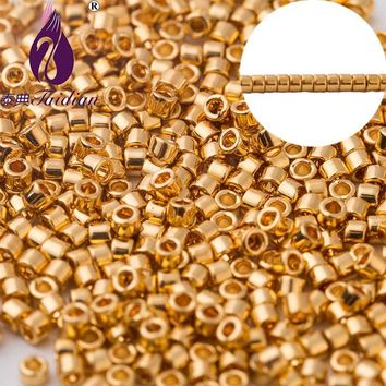 Taidian Japanese 24Kt Gold-Plated Delica Seed Beads 11/0 1.6MM 5 Grams/Lot About 1000 Pieces For Jewelry Bead Work