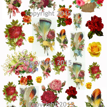 Victorian Feathers and Flowers  Collage Sheet  Printed Collage Sheet,  Weddings, Decoupage, Scrapbook, Altered Art, Victorian Scrap