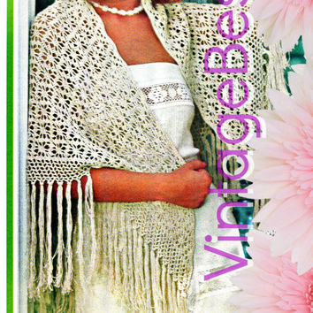 Shawl CROCHET Pattern Vintage 1970s Lacy spider web shawl Crochet Pattern Lace Cover Up Bohemian Hippie Instant Download PDF Pattern