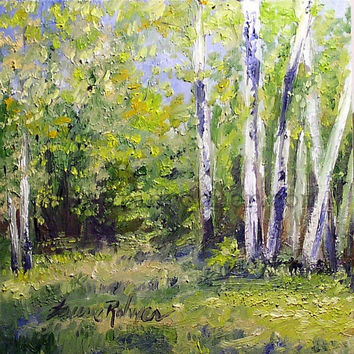 Birch Trees Nature Art Vermont Oil Painting Original Woodland Scenic Landscape