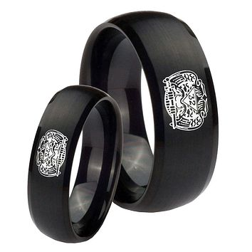 Bride and Groom Masonic 32 Degree Freemason Dome Brush Black Tungsten Carbide Wedding Bands Ring Set