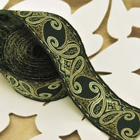 Paisley Jacquard Ribbon Trim Dark Green Gold  2 yards by Nineheads