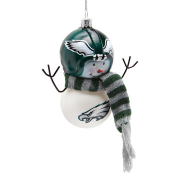 Philadelphia Eagles - Blown Glass Snowman Ornament