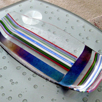Fused Dichroic Glass Platter - Colorful Stripes Platter