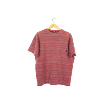 90s STUSSY tribal pattern shirt - vintage 1990s pocket tee - brick red