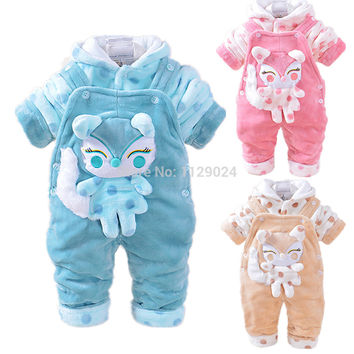 Baby Winter Clothing Sets 3D Animal Fox Hooded Coat+ Pant Jumpsuits