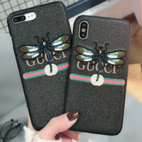 Gucci embroidered dragonfly iphone case for iphone 6/7/8/6plus/7plus/8plus/X