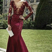 Evening Dresses 2017 Burgundy Beaded Deep V Neck Mermaid Evening Gowns with Long Sleeves