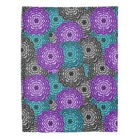Turquoise Teal Blue Lavender Purple Grey Floral Duvet Cover