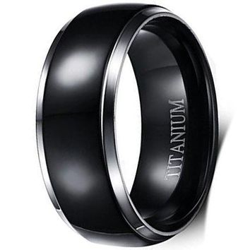 8mm Black Titanium Stainless Steel Ring Vintage Wedding Jewelry Engagement Band