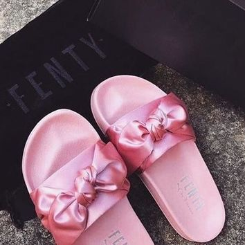 One-nice™ PUMA fenty rihanna silk Bow Slide Sandals Shoes sneakers spring (10-color) I