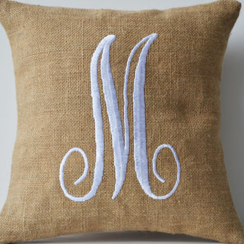 Monogram Pillows- Natural Burlap with White Embroidered Letter Pillow- Custom letter pillows- Gift- 16x16- Cursive letter monogram pillow