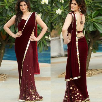Burgundy Velour Saree Mermaid Evening Dresses 2017 Backless One Shoulder Long Prom Gowns V-neck India Party Dress Robe De Soiree