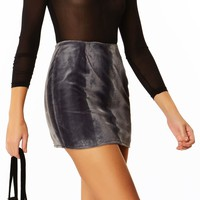 Faux Real Gray Pony Fur Mini Skirt