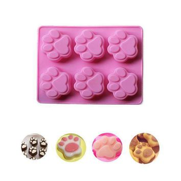 ICIKU7Q Cat Paw Print Silicone Cookie Cake Candy Chocolate Mold Soap Ice Cube Mold