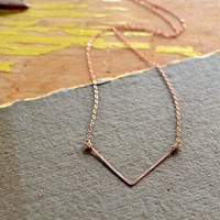 Chevron Necklace - handmade delicate chevron necklace in Gold, Silver, Rose Gold, or Mixed Metals