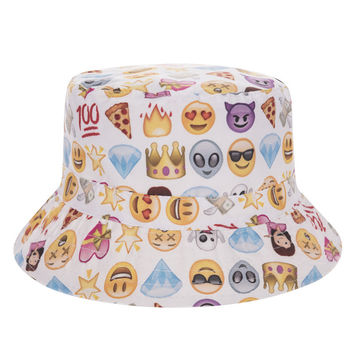 Emoji Collage Adult Unisex White Casual Summer Beach Flat Bucket Hat