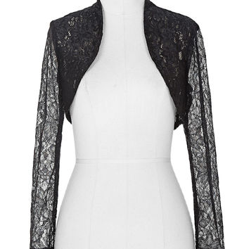 Elegant 2017 New Stock Women Ladies Long Sleeve Cropped Black Lace Shrug Bolero Wedding Jackets White Bridal Wraps BP49