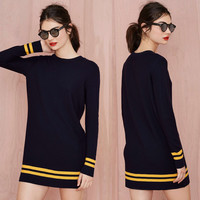 Navy Long Sleeve Striped Mini Sweater Dress