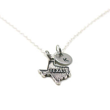Texas Necklace, State Of Texas Necklace, Personalized Necklace, Custom Gift, Initial Necklace, Texas Charm, State Jewelry, State Necklace
