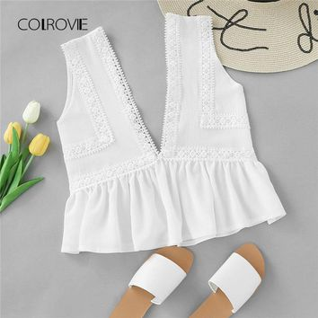COLROVIE Plunging V-neckline Lace Trim Frill Hem Top 2018 New White Contrast Lace Ruffle Hem Woman Top Deep V Neck Crop Vest