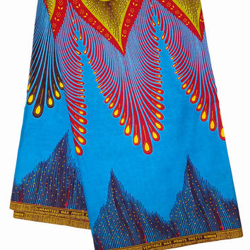 African fabric, Blue  Yellow Red Feathers  peacock African fabric, African Fabric by the Yard, Ankara fabric, African print fabric,wax print