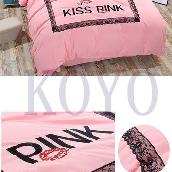 Winter Brand VS Secret Pink Print Embroided Fashion Cotton Victoria Bedding Set Bed Sheets 4PCS Duvet Cover Set Bedspread