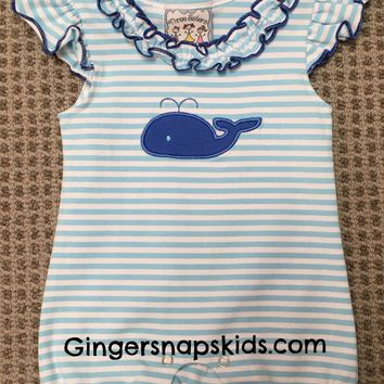 Three Sisters Whale Applique Ruffle Romper (NB last one)