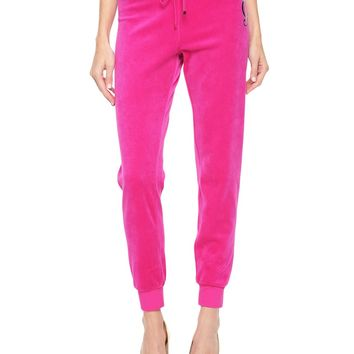 Logo Jc Lace Velour Slim Pant by Juicy Couture