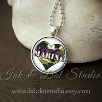 I Love My Marine Necklace, Marine Wife Necklace, Gift for Marine Wife, Military Wife, Marines, Camouflage Heart