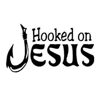 Hooked On Jesus Christian Fishing Car Decal