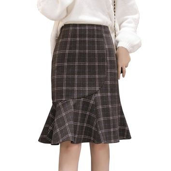 Korean OL Office Skirts Womens High Waisted Midi Skirt Elegant Ruffles Fishtail Mermaid Skirts Party Formal Plaid Black Jupes