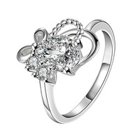 floating charms silver Engagement rings Butterflies men ring337