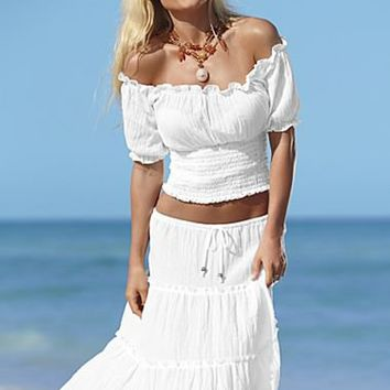 White Off-the-Shoulder Crop Top and Peasant Skirt | Venus