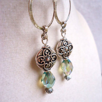 Long Ornate Silver & Light Sea Green Crystal Earrings