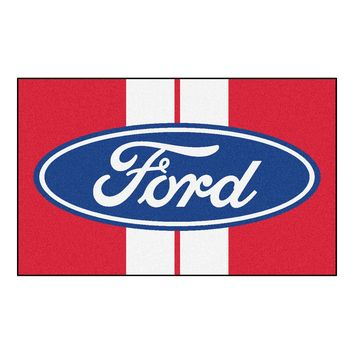 Ford Oval with Stripes Rug 4x6 - Red