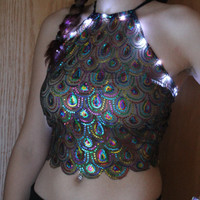 LED Peacock Rainbow Halter Top Festival Halter Crop Top Pole dancing Rave Pasties Rollin Titties
