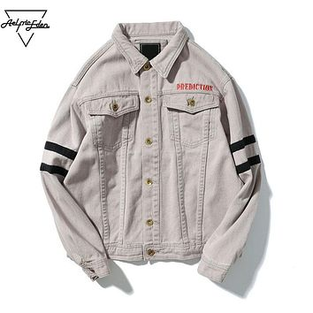 Autumn Jacket Men Jean Jackets Streetwear Letter Embroidery Men's Denim Jeans Jacket