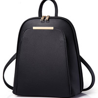 Black Pocket Front Metal Bar Detail Backpack