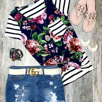 Can't Believe It Striped Floral Top