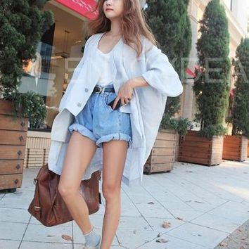 2018 Sexy Summer Vintage Style High Waist Denim Shorts Female Short Jeans Pocket Light Blue