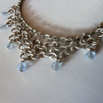 Vintage anklet silver filigree and blue crystal chandelier persian indian bahli ankle bracelet costume jewelry boho summer spring 1960 1970s