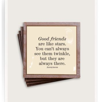 Good Friends Are Like Stars Copper & Glass Coasters, Set of 4