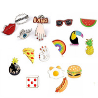 Pameng Food  Dogs PizzaBang Awesome! Hand Eye Fruit Watermelon Pineapple Sunglasses Rainbow Jeans Bag Enamel Lapel Pin Brooch